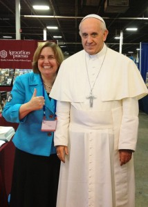 Me and the Holy Father, or a reasonable facsimile, at the Catholic Marketing Network trade show, Somerset, NJ, August 2013.